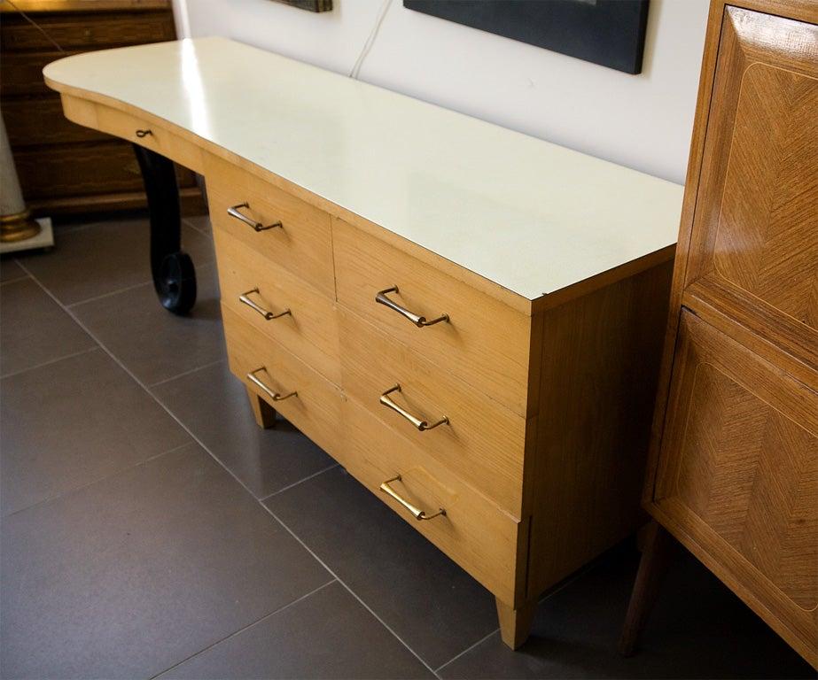1950 S Blonde Art Deco Style Bedroom Desk 3