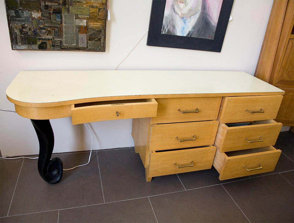 1950 39 s blonde art deco style bedroom desk at 1stdibs