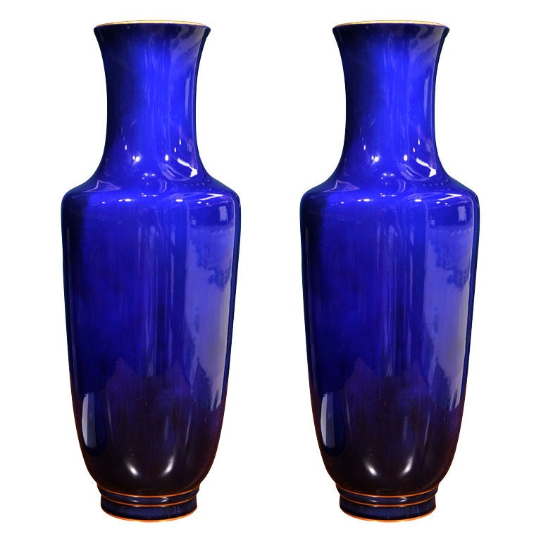 Pair Of Cobalt Blue Porcelain Vase By Sevres French 1892