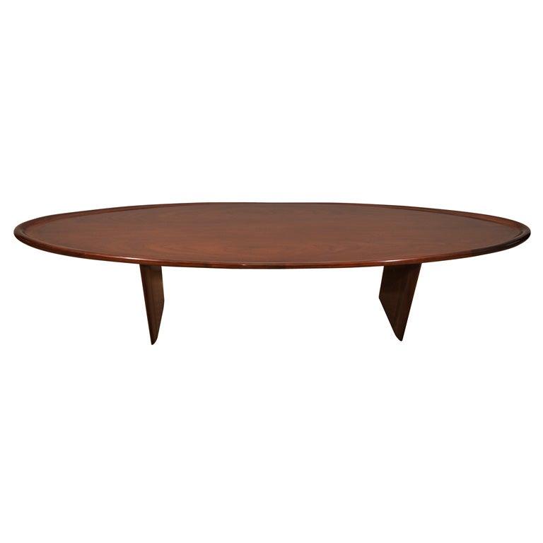 A Gibbings Walnut Surfboard Coffee Table At 1stdibs