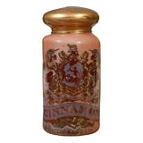 English 19th Century Painted Glass Apothecary Jar with Coat of Arms and Motto