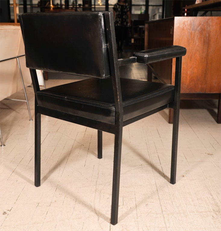 Set of 4 black leather and steel french dining chairs at for Leather and steel dining chairs