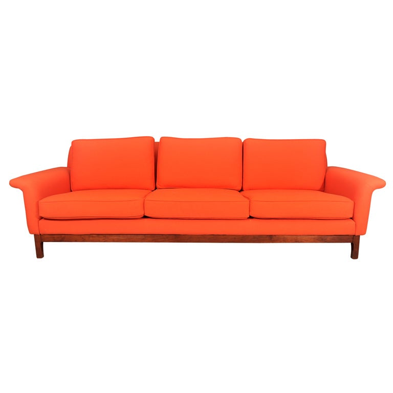 Orange 1960's Dux sofa, reupholstered in Knoll fabric at ...