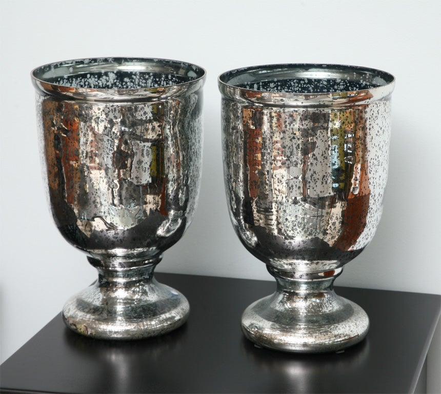 A Pair Of Large Mercury Glass Photophores At 1stdibs