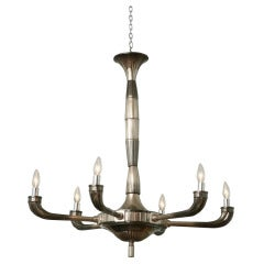 Large Art Deco Polished Nickel Six-Light Chandelier