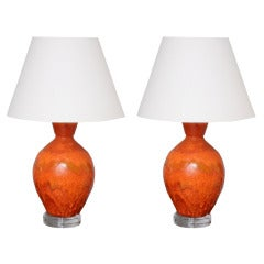 Pair of Monumental Sized Orange Mottled Glaze Ceramic Lamps