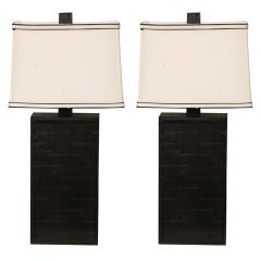 Pair of Black Leather Table Lamps in the Style of Adnet