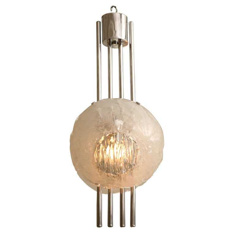 Mazzega 70 S Chrome And Glass Chandelier At 1stdibs