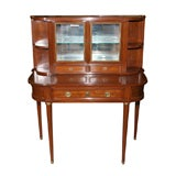 Jansen Mahogany Desk and Curio Cabinet