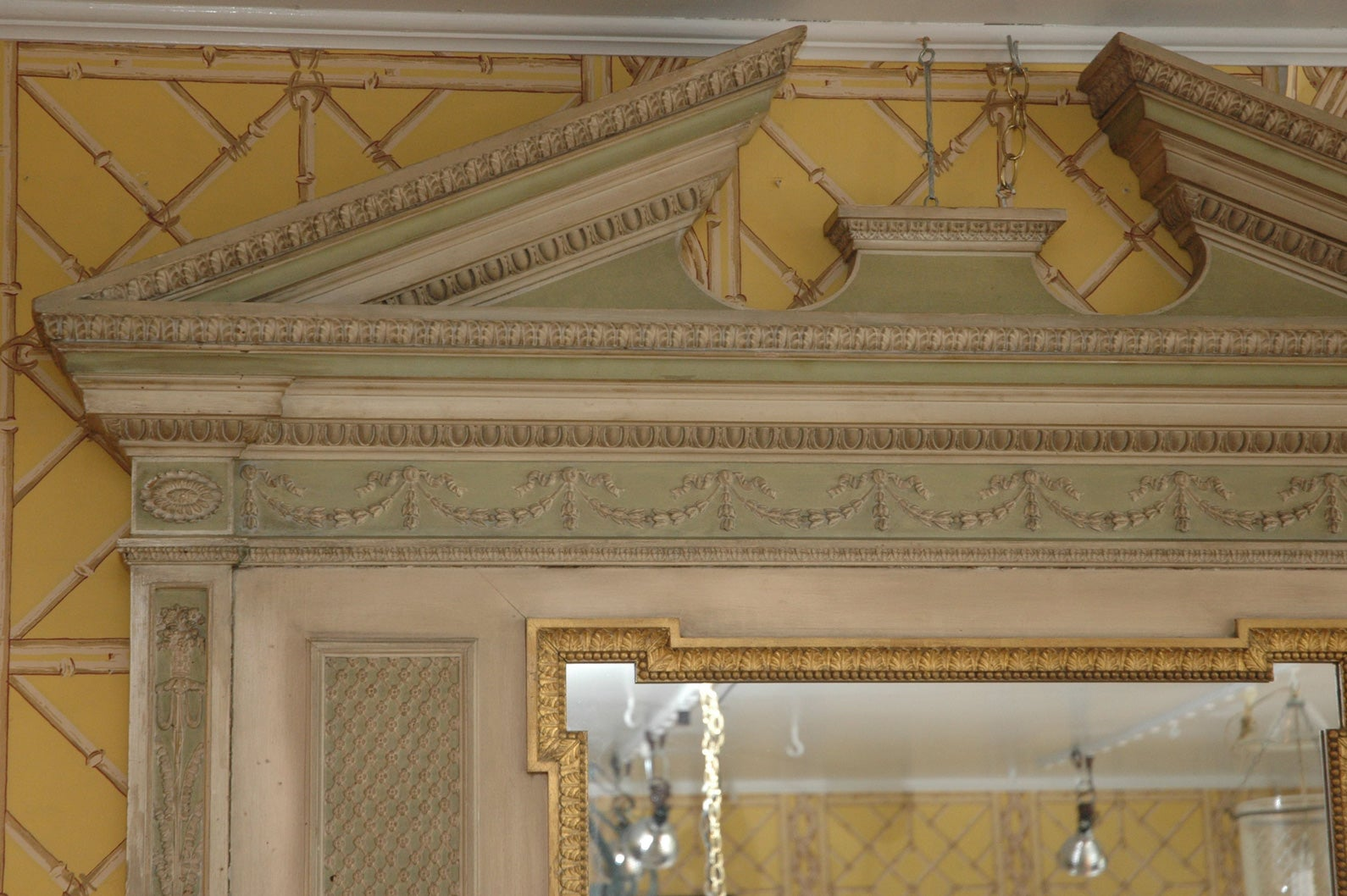 19th Century English over Mantel Regency Adam Style Pediment Mirror 5