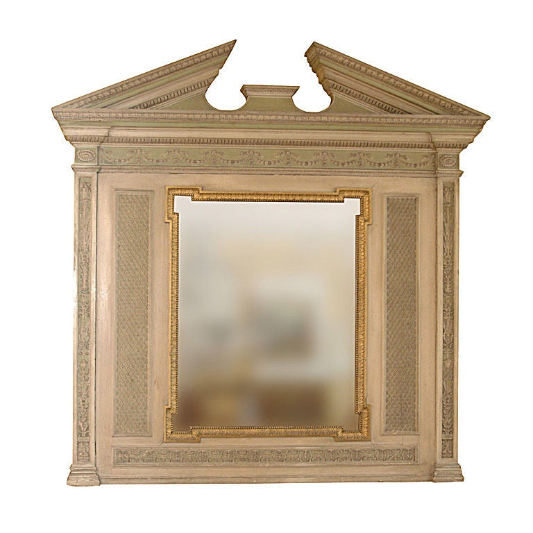 19th Century English over Mantel Regency Adam Style Pediment Mirror 1