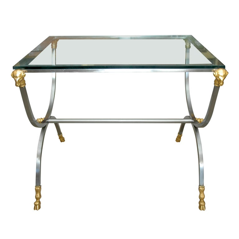 French 19th Century Bronze and Steel Ram's Head Glass Table
