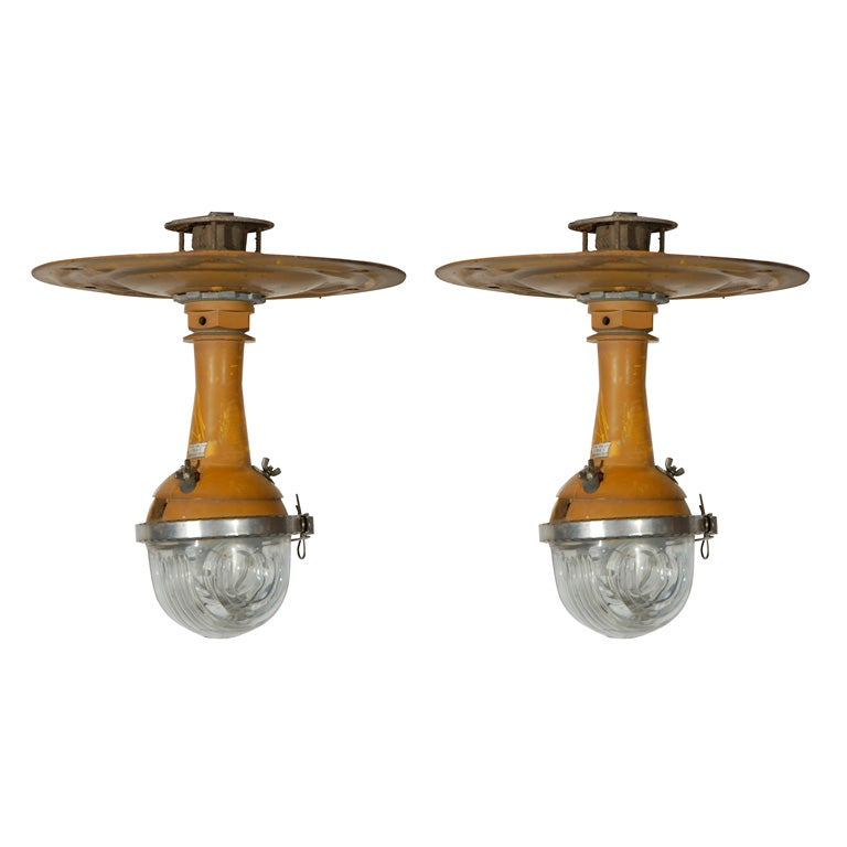 Industrial Style Glass Wall Lights : Industrial-Style Airport Runway Pendant Light Fixtures at 1stdibs