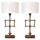 """Tahoma"" Bronze Table Lamps by Alexandre Logé"