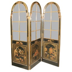Stamped Jansen Chinoiserie Painted Three-Panel Paned Glass Screen
