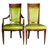 Set of 6 Green vinyl empire chairs