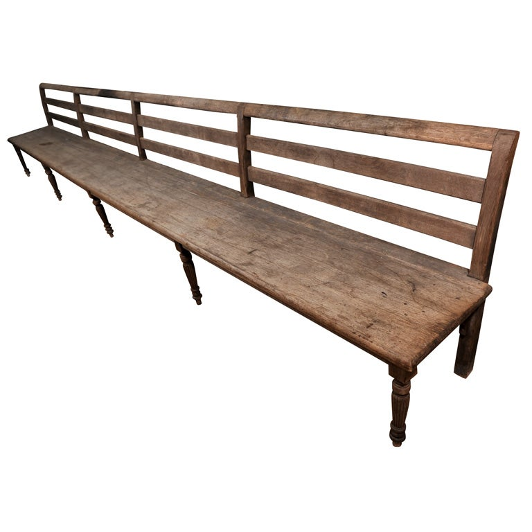 Extra Long English Carved Oak Bench At 1stdibs