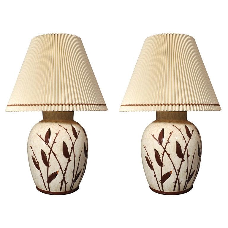 Pair of Monumental Ceramic Table Lamps
