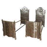 Pair of Ornate Cast Steel Campaign Beds
