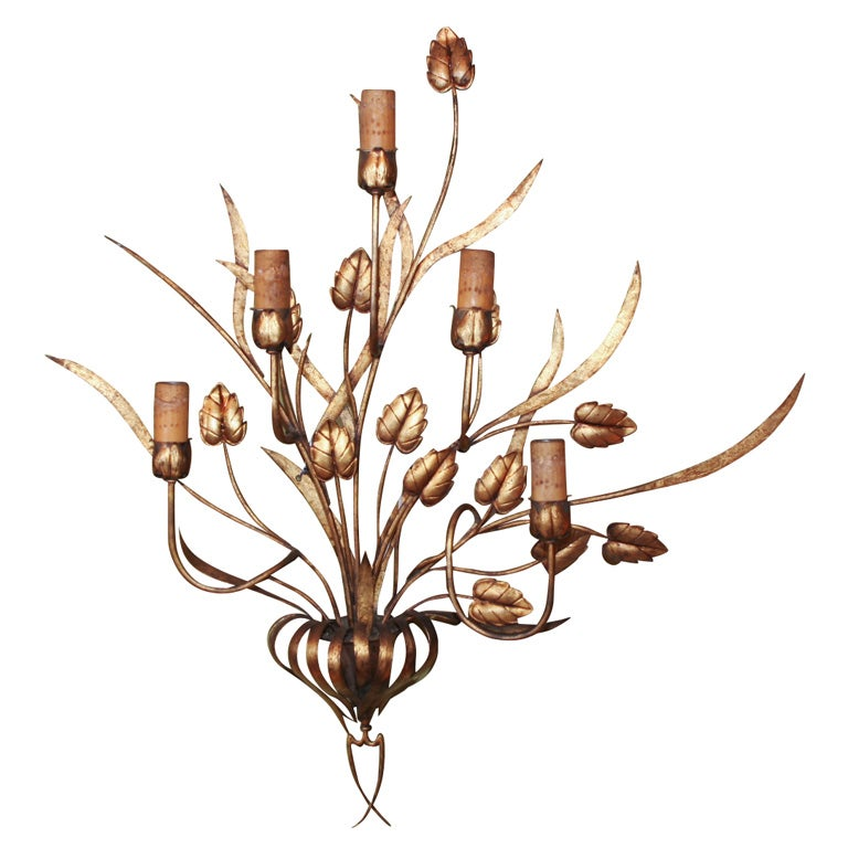 Floral Metal Wall Sconces : Large Gilt Metal Floral Motif Sconce For Sale at 1stdibs