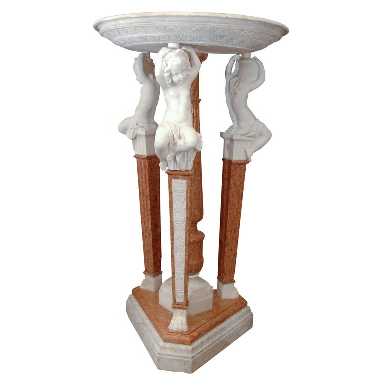 19thc Carerra marble fountain with chrubs