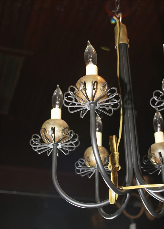 Small Midcentury Fanciful Chandelier In Excellent Condition For Sale In Stamford, CT