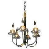 Pair Small Midcentury Fanciful Chandeliers