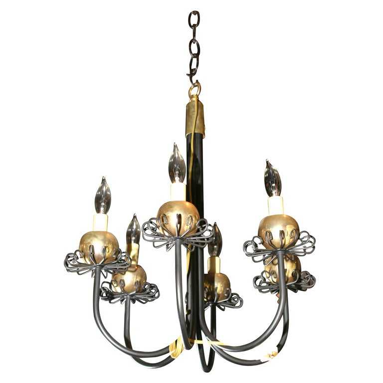 Pair Small Midcentury Fanciful Chandeliers For Sale