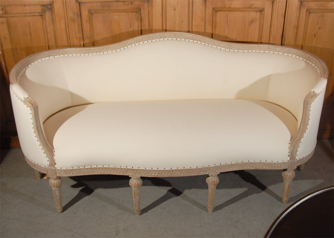 Gustavian Style Settee With Traces of Paint on Frame in Soft Grey.Has Been Reupholstered in Cotton Ticking.