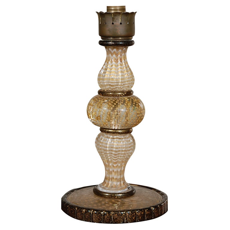 murano glass lamp base with gold at 1stdibs. Black Bedroom Furniture Sets. Home Design Ideas