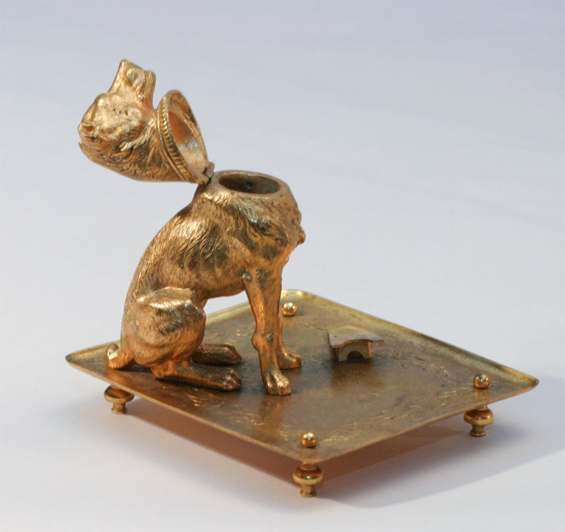French Bronze D'ore Figural Dog Match Strike image 4