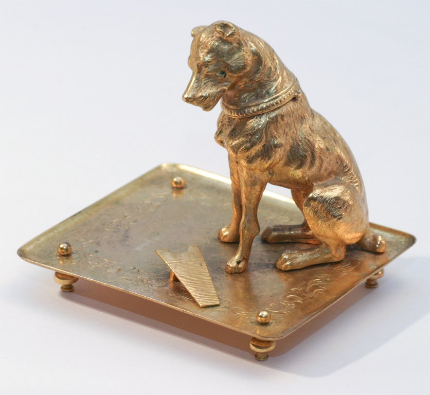 French Bronze D'ore Figural Dog Match Strike image 5