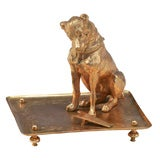 19th Century French Bronze D'ore Figural Dog Match Strike