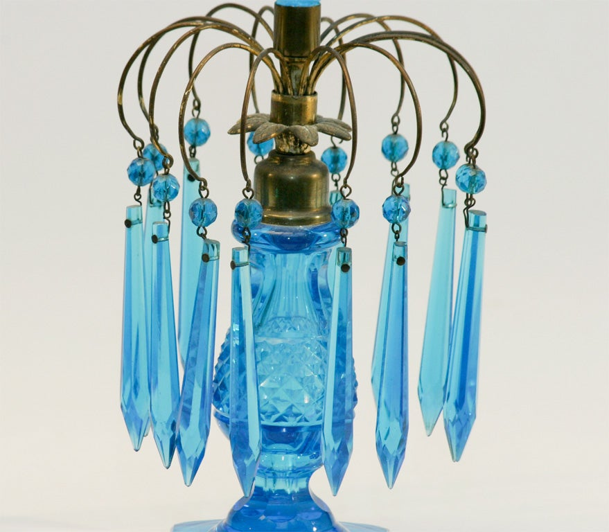 Anglo-Irish Turquoise Cut Crystal Girondoles with Brass Fittings In Good Condition For Sale In Great Barrington, MA