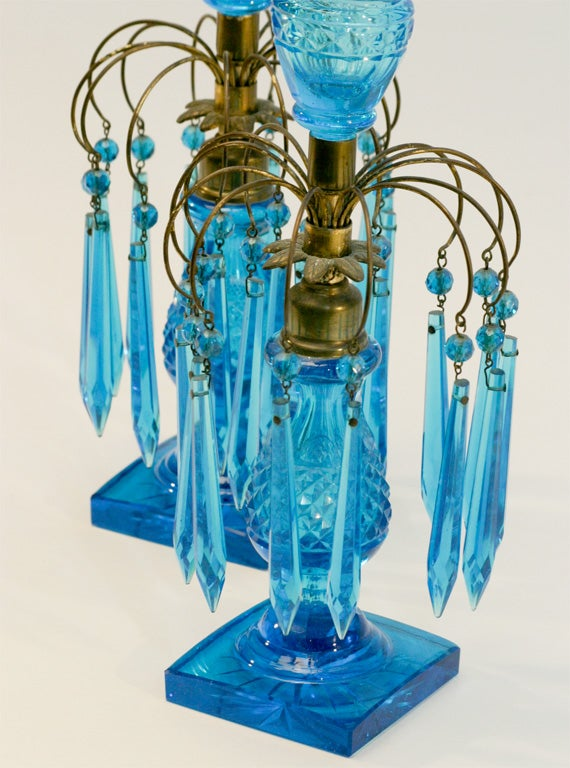 Anglo-Irish Turquoise Cut Crystal Girondoles with Brass Fittings For Sale 2