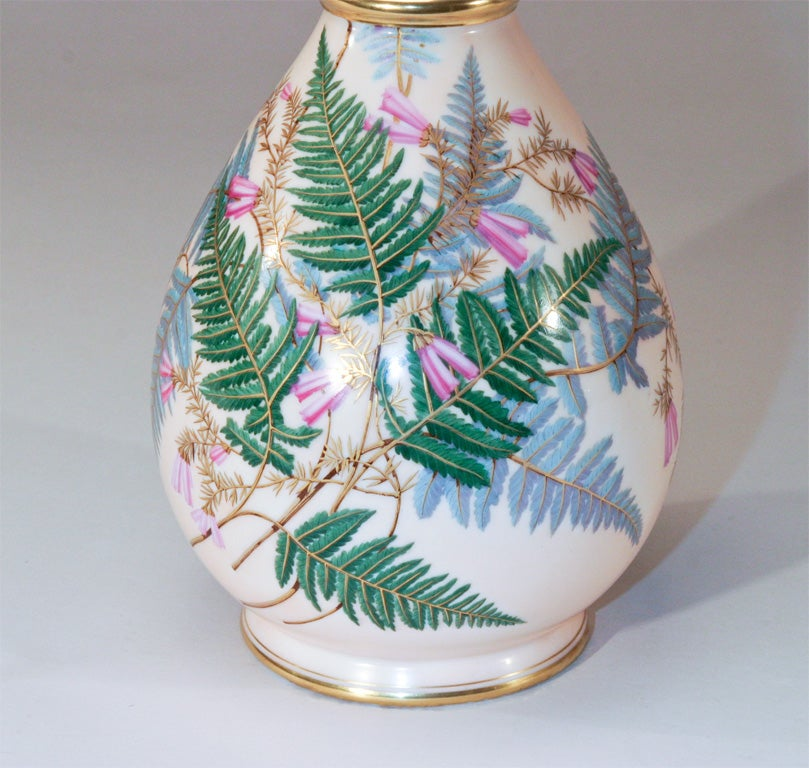 Aesthetic Movement Hand Painted Porcelain Vase In Excellent Condition For Sale In Great Barrington, MA