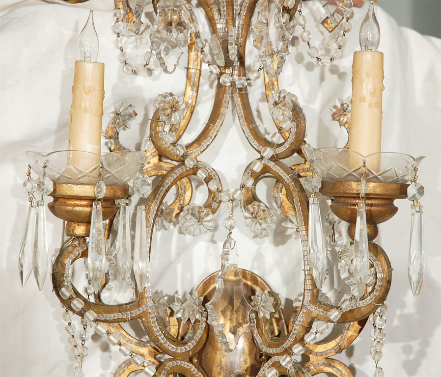 Pair of Crystal Beaded Italian Style Sconces at 1stdibs