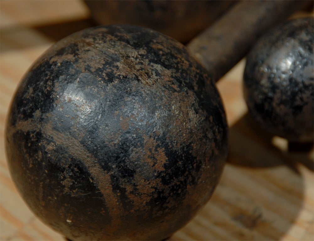 set of six vintage cast iron bar bells image 3
