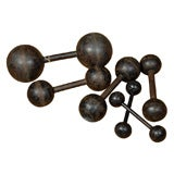 set of six vintage cast iron bar bells