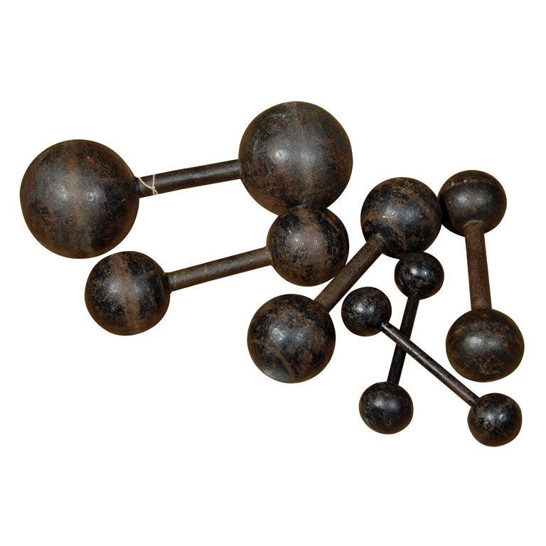 set of six vintage cast iron bar bells