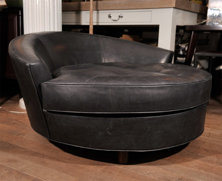 Round Leather Lounge Chair at 1stdibs
