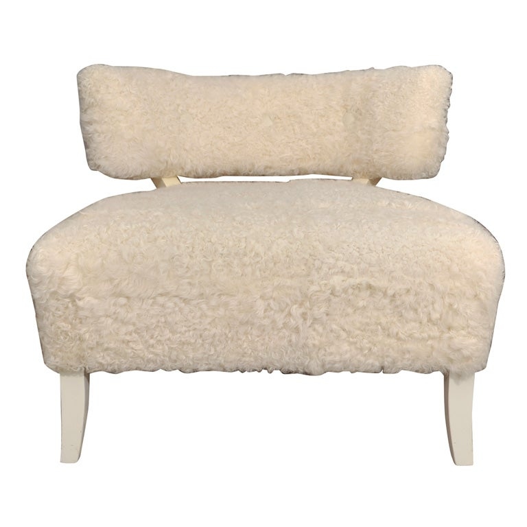 Mongolian Lamb And Creme Lacquered Slipper Chair By Billy