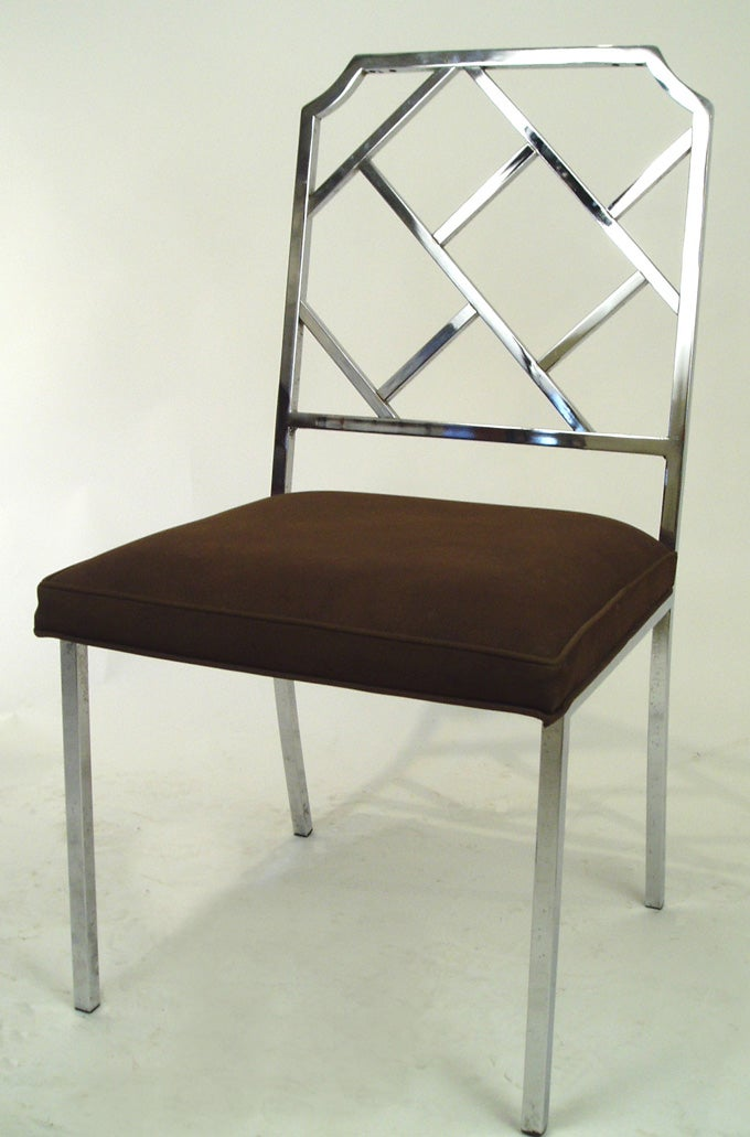 Set Of 4 Vintage Modern Chrome Chippendale Chairs At 1stdibs