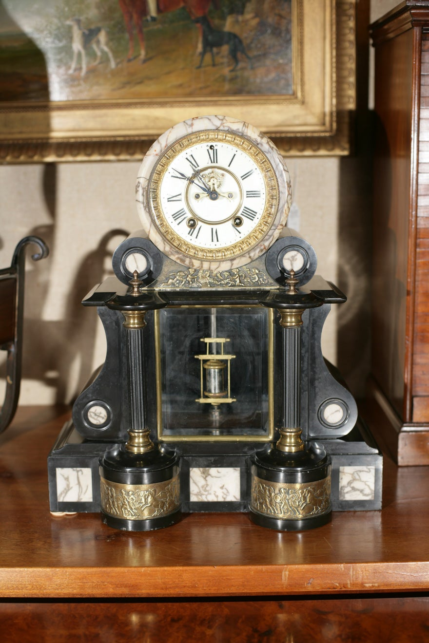 Black Marble Mantel Clock For Sale At 1stdibs