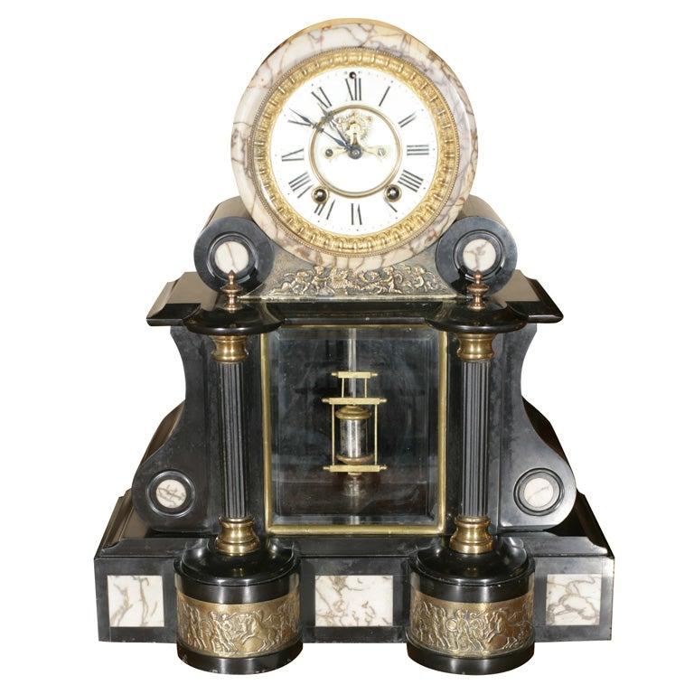 Black Marble Mantel Clock