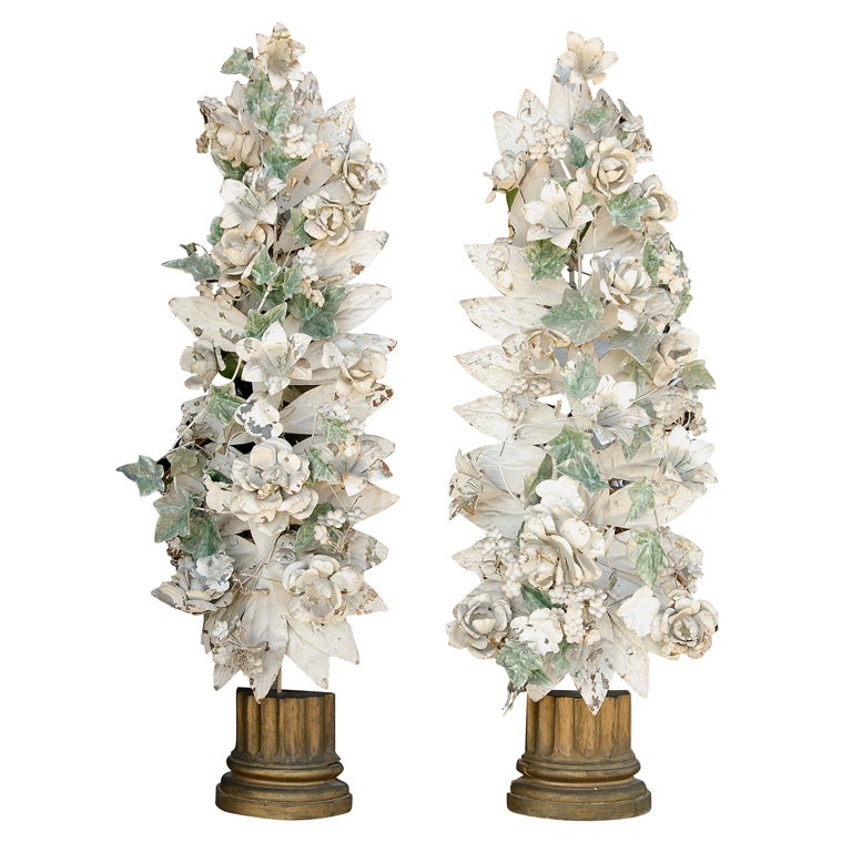 Antique Italian Wall Sconces : Vintage Italian Tole Floral Wall Sconces at 1stdibs
