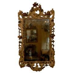 18th century Italian Rococo Giltwood & Polychrome Painted Mirror