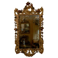 Mid 18th century Italian Rococo Gilt-wood & Polychrome Painted Mirror