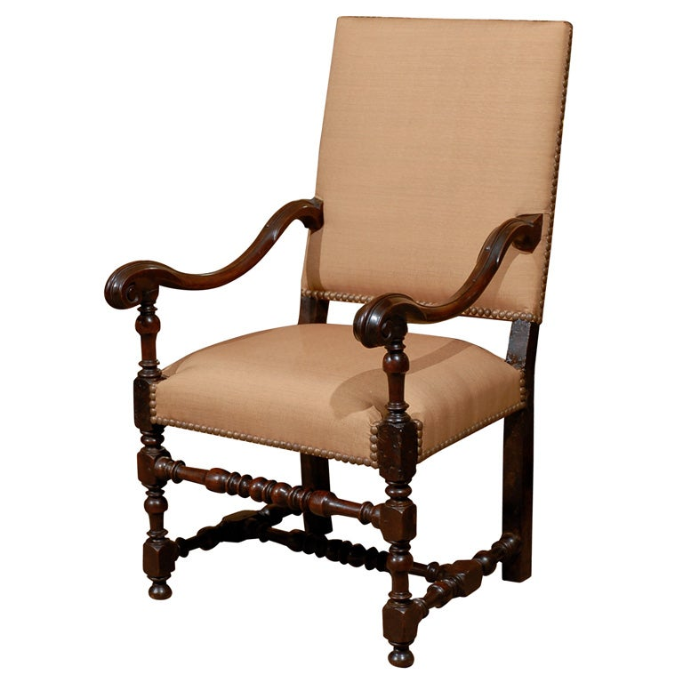 18th century louis iii style walnut fauteuil at 1stdibs. Black Bedroom Furniture Sets. Home Design Ideas