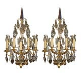 Pair of  Bronze Dore and Crystal Girondoles